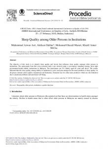 Sleep Quality among Older Persons in Institutions - ScienceDirect