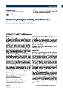 Sleep quality in subjects suffering from chronic pain