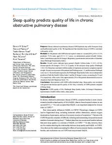 Sleep quality predicts quality of life in chronic ... - Semantic Scholar
