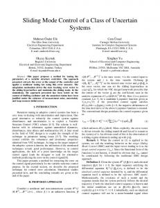 Sliding Mode Control of a Class of Uncertain Systems - CiteSeerX