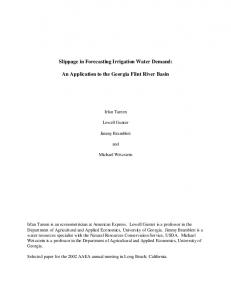 Slippage in Forecasting Irrigation Water Demand: An ... - AgEcon Search