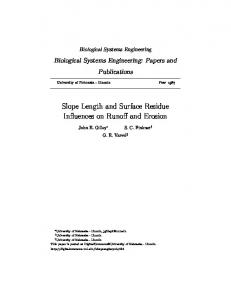 Slope Length and Surface Residue Influences on ...