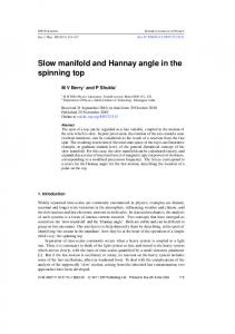 Slow manifold and Hannay angle in the spinning top