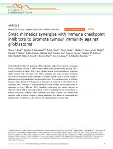 Smac mimetics synergize with immune checkpoint inhibitors ... - Nature
