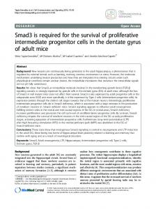 Smad3 is required for the survival of proliferative ... - CiteSeerX