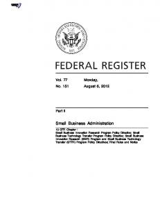 Small Business Administration - U.S. Government Printing Office