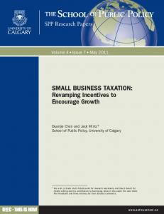 SMALL BUSINESS TAXATION - The School of Public Policy