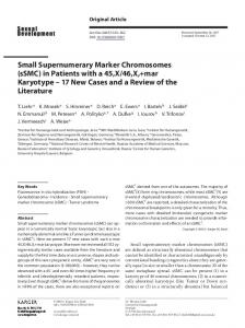 Small Supernumerary Marker Chromosomes (sSMC) in Patients with a ...