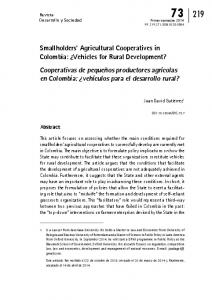 Smallholders' Agricultural Cooperatives in Colombia - SciELO Colombia