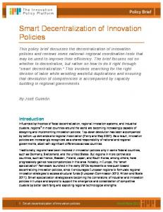 Smart Decentralization of Innovation Policies - The Innovation Policy ...