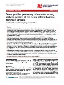 Smear positive pulmonary tuberculosis among ... - BioMed Central