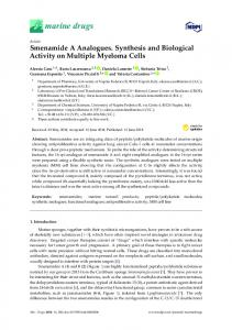 Smenamide A Analogues. Synthesis and Biological Activity on ... - MDPI