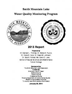 Smith Mountain Lake Water Quality Monitoring Program 2013 Report