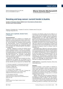 Smoking and lung cancer: current trends in Austria - MedUni Wien