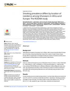 Smoking prevalence differs by location of residence among ... - PLOS