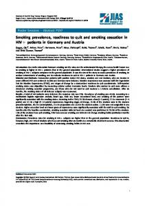 Smoking prevalence, readiness to quit and smoking cessation in HIV ...