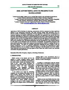 sms advertising and its prospects in bangladesh - Journal of ...