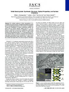 SnSe Nanocrystals: Synthesis, Structure, Optical Properties, and ...