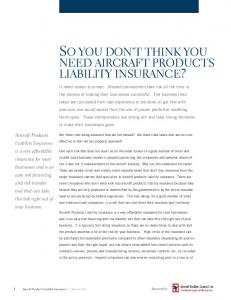 so you don't think you need aircraft products liability ... - Advisen, Ltd.