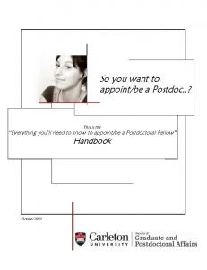 So you want to appoint/be a Postdoc..?