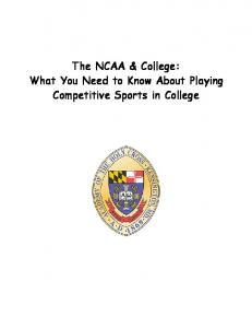 SO YOU WANT TO BE A COLLEGE ATHLETE…