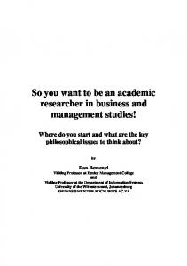 So you want to be an academic researcher in