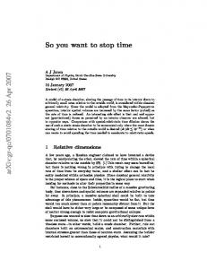 So you want to stop time