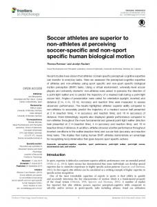 Soccer athletes are superior to non-athletes at