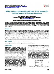 Soccer League Competition Algorithm, a New Method for Solving ...