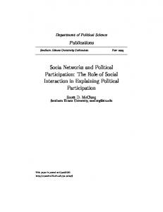 Socia Networks and Political Participation: The Role