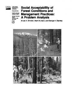 Social Acceptability of Forest Conditions and Management Practices ...