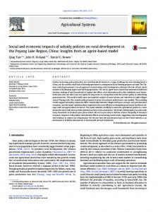 Social and economic impacts of subsidy policies on rural development ...