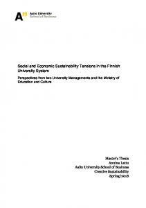 Social and Economic Sustainability Tensions in the