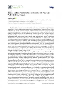 Social and Environmental Influences on Physical Activity ... - MDPI