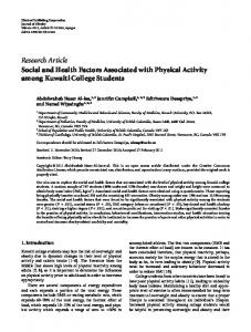 Social and Health Factors Associated with Physical Activity among ...