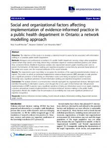 Social and organizational factors affecting implementation of evidence ...