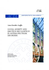 social anxiety and emotion recognition in autism