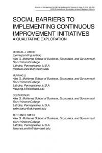 social barriers to implementing continuous improvement initiatives
