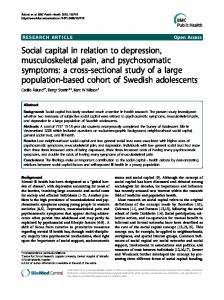 Social capital in relation to depression, musculoskeletal pain, and