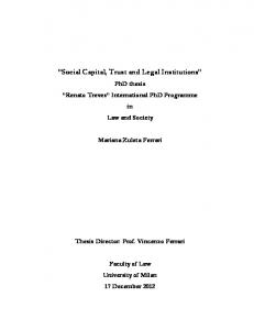 Social Capital, Trust and Legal Institutions