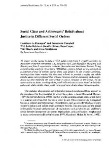 Social class and adolescents' beliefs about justice in different social ...