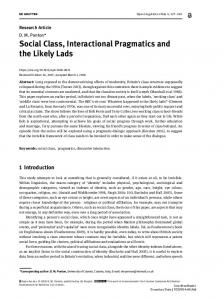 Social Class, Interactional Pragmatics and the Likely