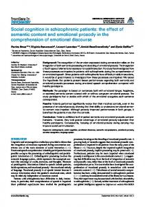 Social cognition in schizophrenic patients: the