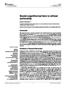 Social-cognitive barriers to ethical authorship