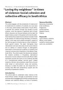Social cohesion and collective efficacy in South Africa - (SciELO) SA