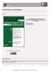 Social Cohesion and Development