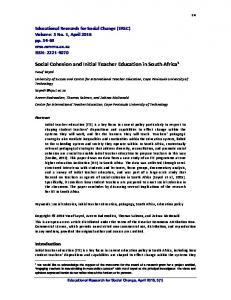 Social Cohesion and Initial Teacher Education in South Africa