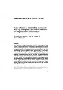 Social cohesion as perceived by community- dwelling older people ...