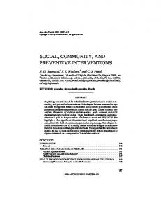 social, community, and preventive interventions - Annual Reviews