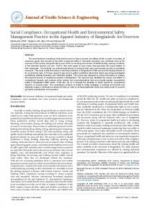 Social Compliance, Occupational Health and Environmental Safety ...